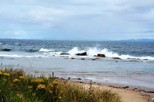 Seawater hitting the rocks