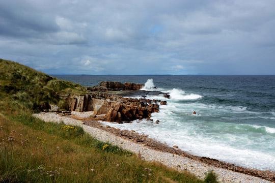 Seawater hitting the rocks on the coastline