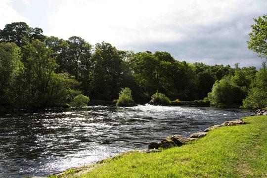 River Conon flowing through a gap in the defences