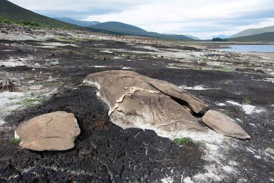 Look westward, exposed rocks