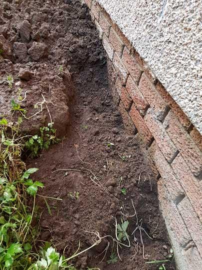 A freshly dug hole