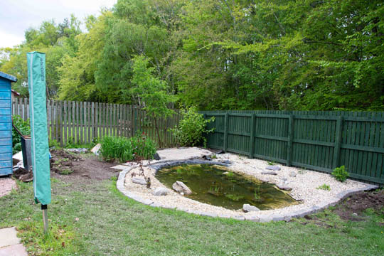 Patio at the end of the pond now complete
