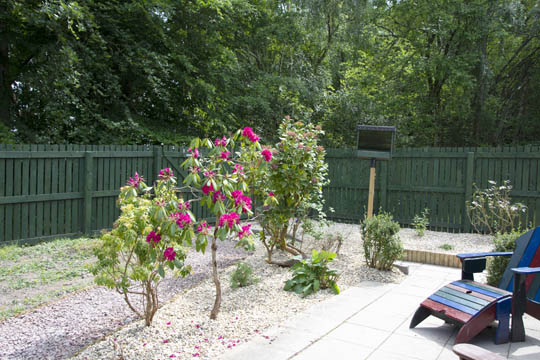 Back patio, looking towards the new raised gravel bed