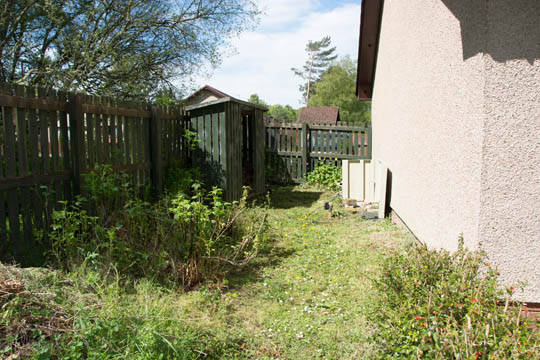 Gable end of house on right with a really unkept garden