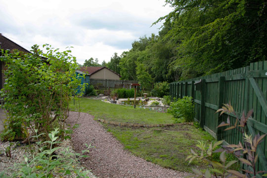 From garden gate looking to the pond area