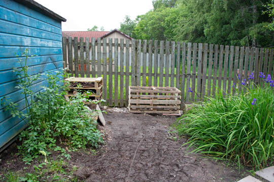 shed on left, flag iris on right, inbetween the bug hotel and compost heap structure
