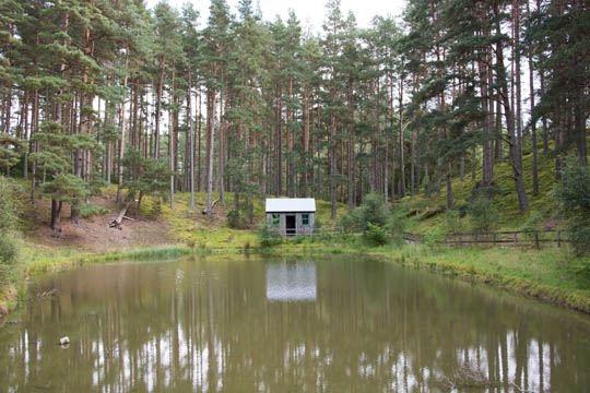 Hut at the end of the curling pond