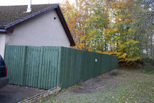 Newly painted green side fence