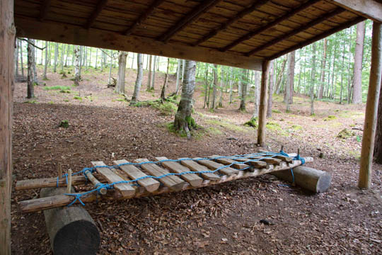 wooden Xylophone under a wooden roof
