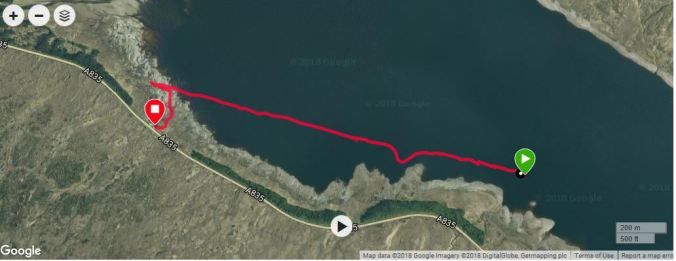 route of walk as tracked by smartwatch